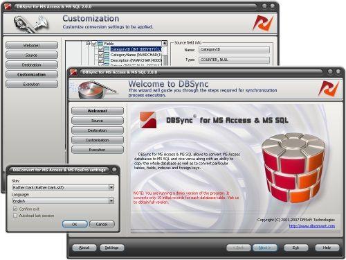 Capture d'écran DBSync for MS Access & MSSQL