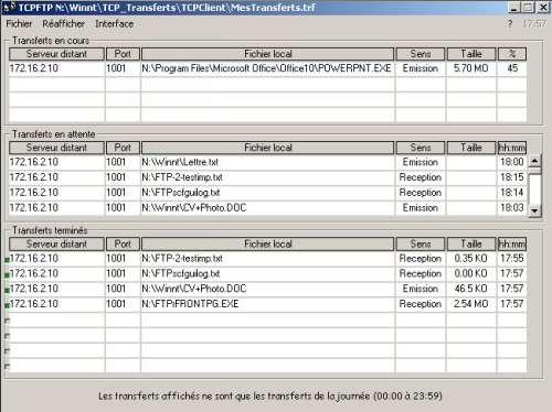 Capture d'écran TCPFTP