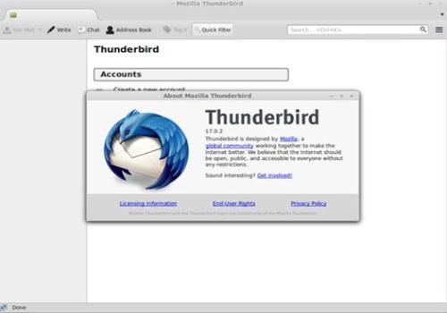 Capture d'écran Thunderbird Linux