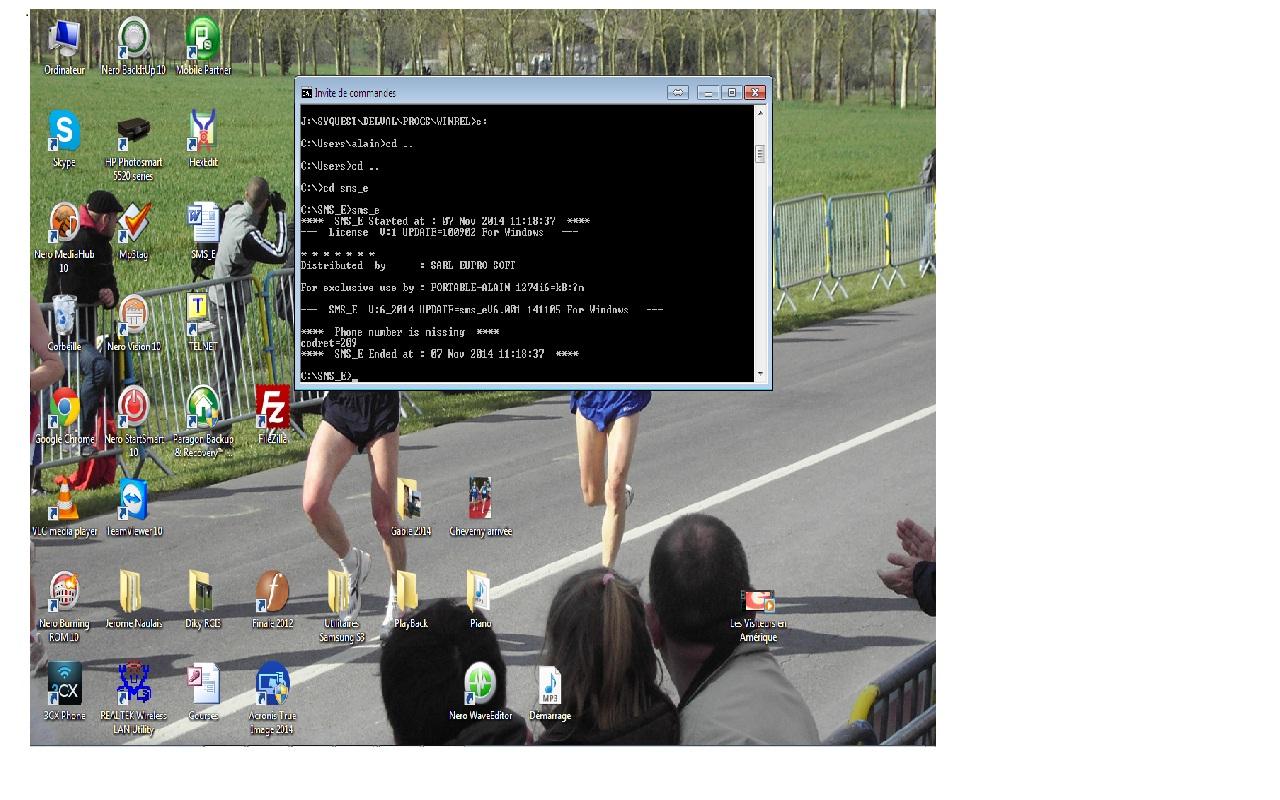 Capture d'écran SMS_E V6.001 Linux