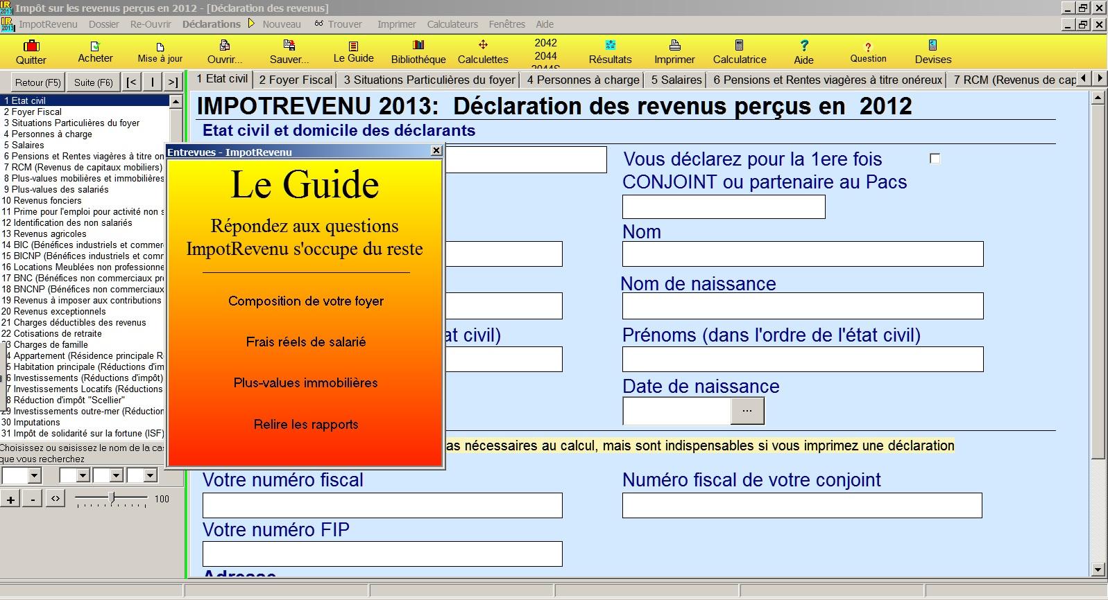 Capture d'écran ImpotRevenu 2013 (revenus 2012)