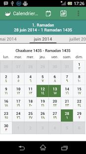 Capture d'écran Calendrier Musulman (Hégirien)
