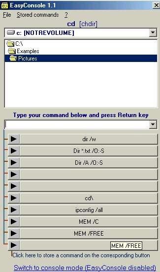 Capture d'écran EasyConsole