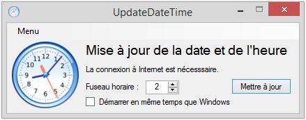 Capture d'écran UpdateDateTime