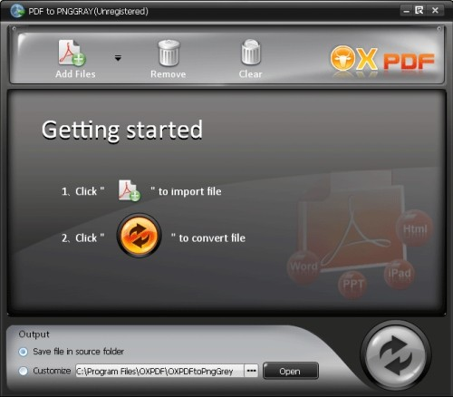 Capture d'écran OX PDF en PNG Grey Convertisseur