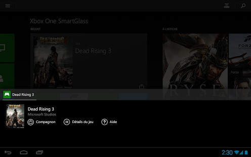 Capture d'écran Xbox One SmartGlass