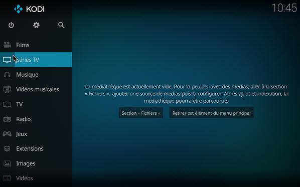 Capture d'écran Kodi (ex-XBMC) Linux