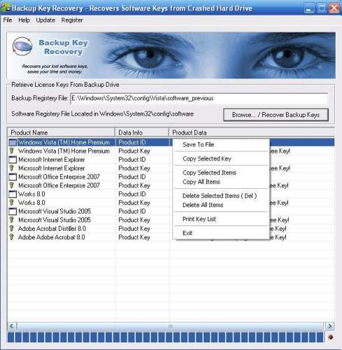 Capture d'écran Backup Key Recovery
