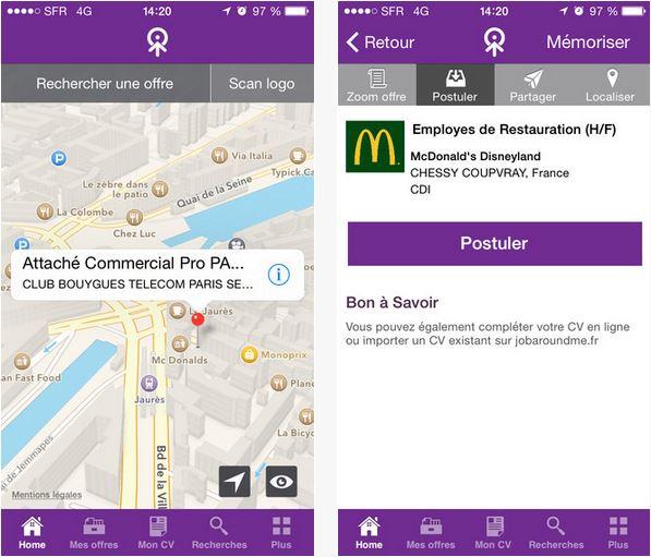 Capture d'écran JobAroundMe Android