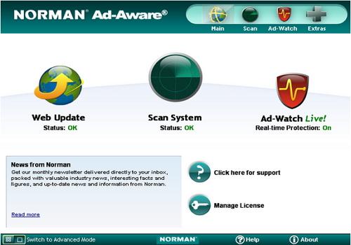 Capture d'écran Norman Ad-Aware