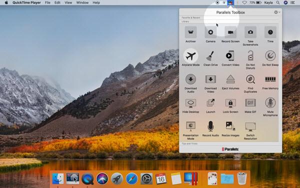Capture d'écran Parallels Toolbox Mac