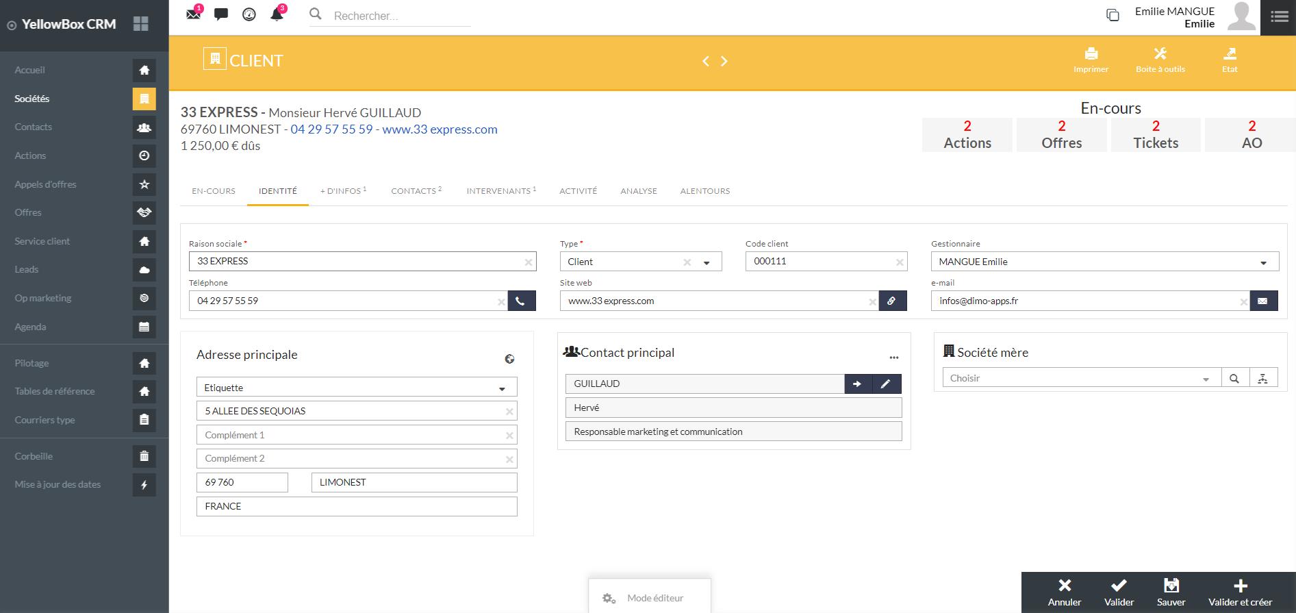 Capture d'écran YellowBox CRM