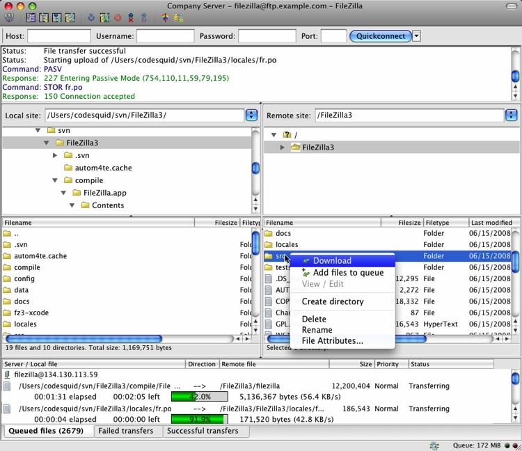 Capture d'écran FileZilla Mac