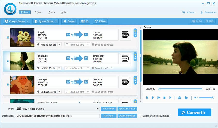 Capture d'écran 4Videosoft Convertisseur Vidéo Ultimate