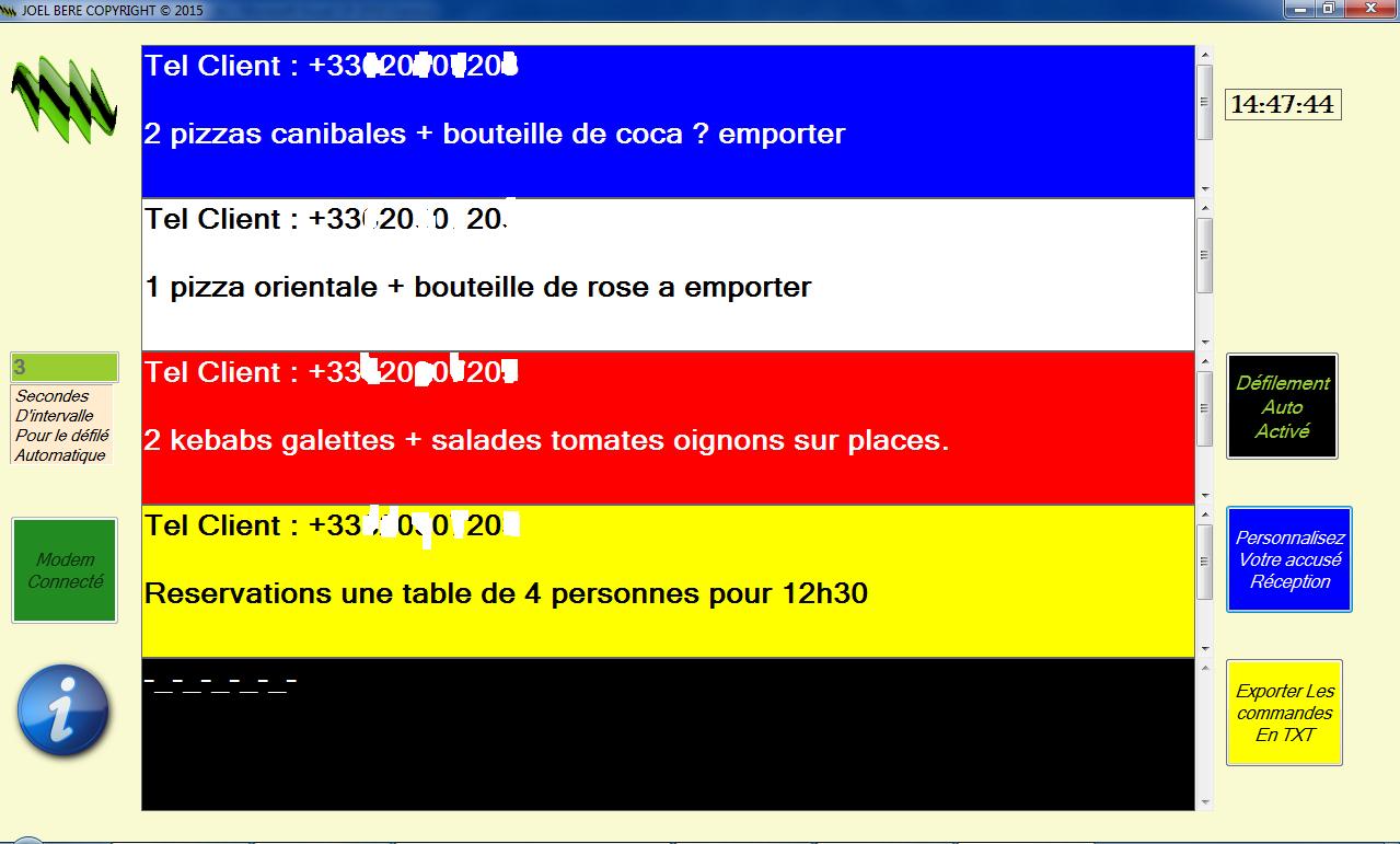 Capture d'écran réception commande (pizza, kebab) ou réservation par sms