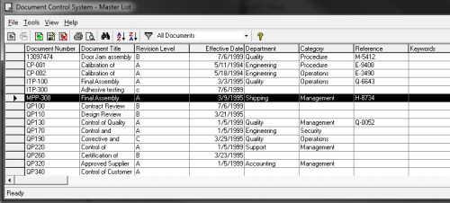 Capture d'écran Document Control
