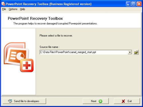 Capture d'écran PowerPoint Recovery Toolbox