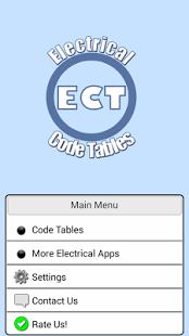 Capture d'écran Electrical Code Tables