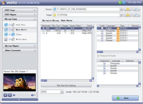 Capture d'écran DVDFab Décrypteur HD