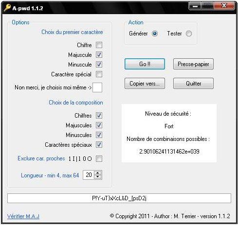 Capture d'écran A-pwd
