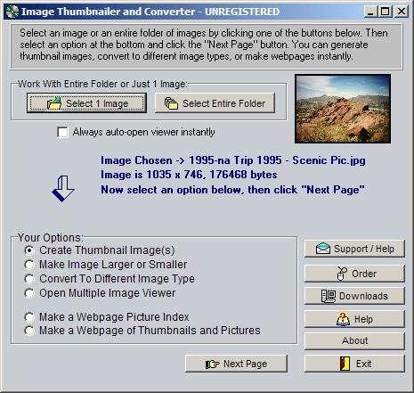 Capture d'écran Image Thumbnailer and Converter