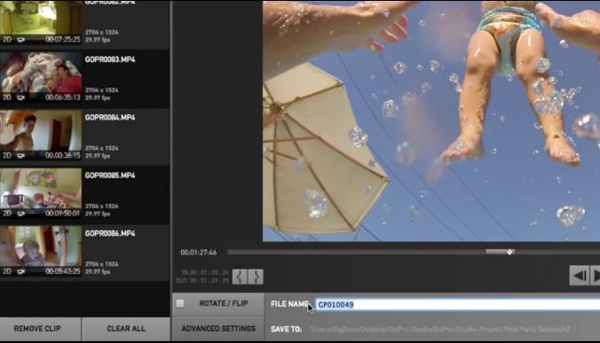 Capture d'écran GoPro Studio Mac