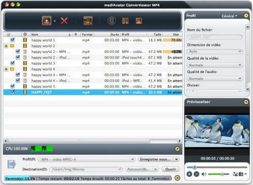 Capture d'écran mediAvatar Convertisseur MP4 pour Mac
