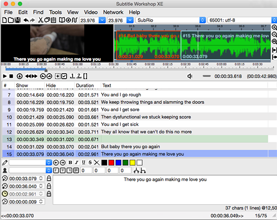 Capture d'écran Subtitle Workshop