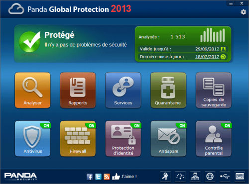 Capture d'écran Panda Global Protection 2013