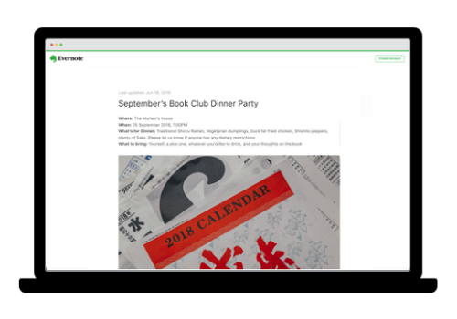 Capture d'écran Evernote iOS