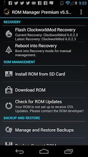 Capture d'écran ROM Manager