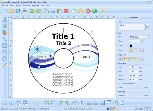 Capture d'écran RonyaSoft CD DVD Label Maker