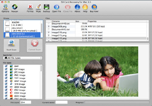 Capture d'écran AppleXsoft SD Card Recovery for Mac