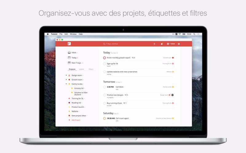 Capture d'écran Todoist : Liste de tâches