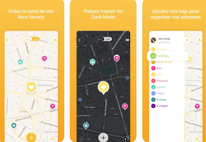 Capture d'écran Mapstr iOS