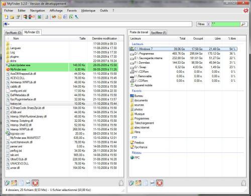 Capture d'écran myFinder