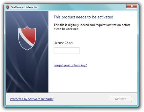 Capture d'écran Software Defender