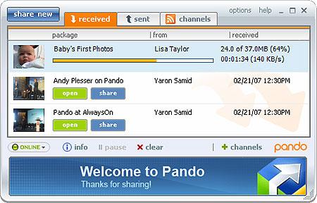 Capture d'écran Pando