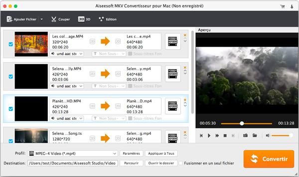 Capture d'écran Aiseesoft MKV Convertisseur pour Mac