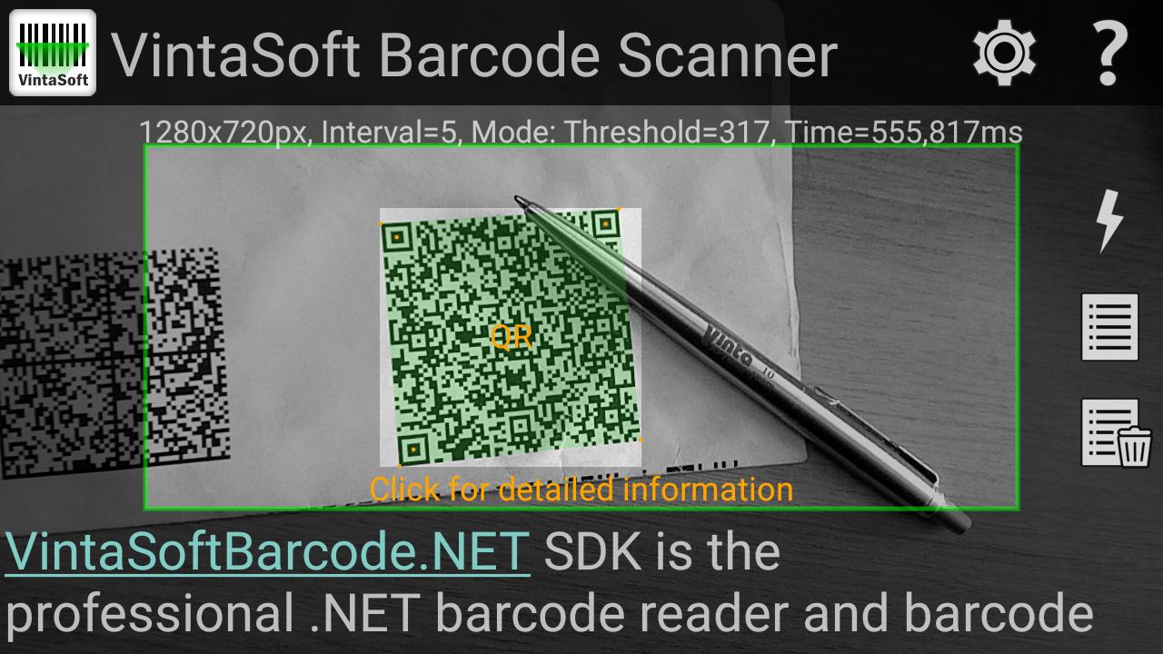 Capture d'écran Vintasoft Barcode Scanner