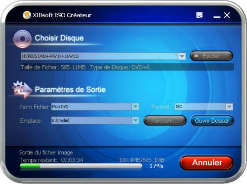 Capture d'écran Xilisoft ISO Créateur