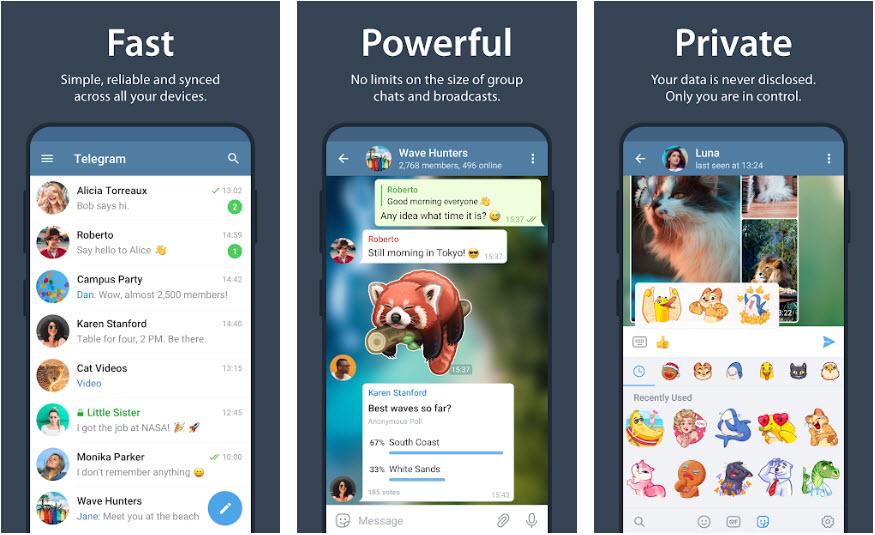 Capture d'écran Telegram Android