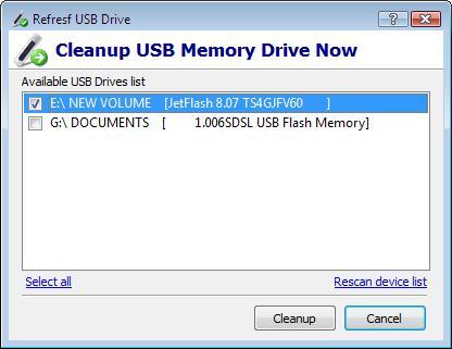 Capture d'écran USBDriveFresher