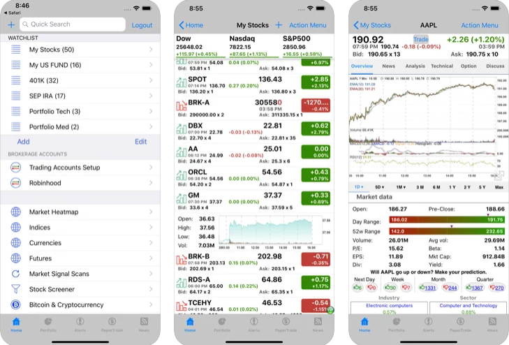 Capture d'écran Real-Time Stock Trader iOS
