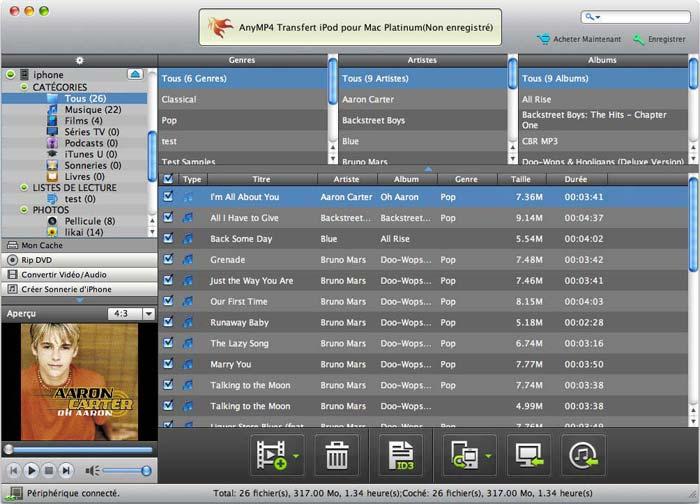 Capture d'écran AnyMP4 Transfert iPod pour Mac Platinum