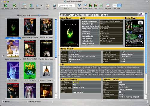Capture d'écran Collectorz.com Movie Collector Mac