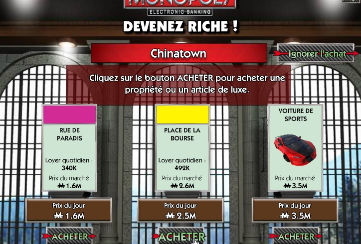 Capture d'écran Monopoly electronic banking