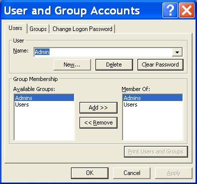 Capture d'écran UGAM – User Group Account Manager for Access 2007