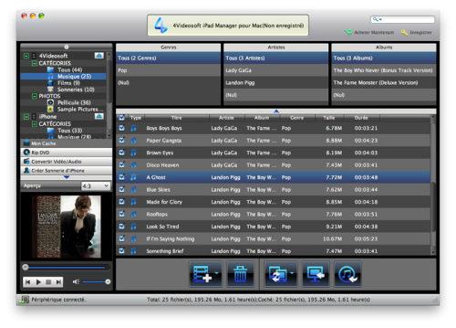 Capture d'écran 4Videosoft iPad Manager pour Mac