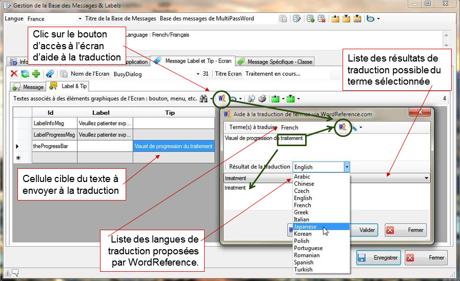 Capture d'écran Messages Editor